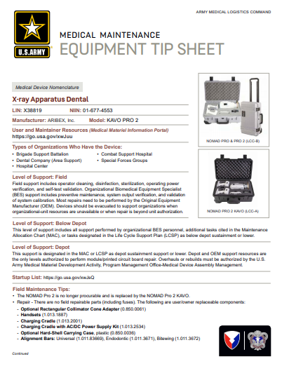 KAVO X-Ray Dental Apparatus Tip Sheet