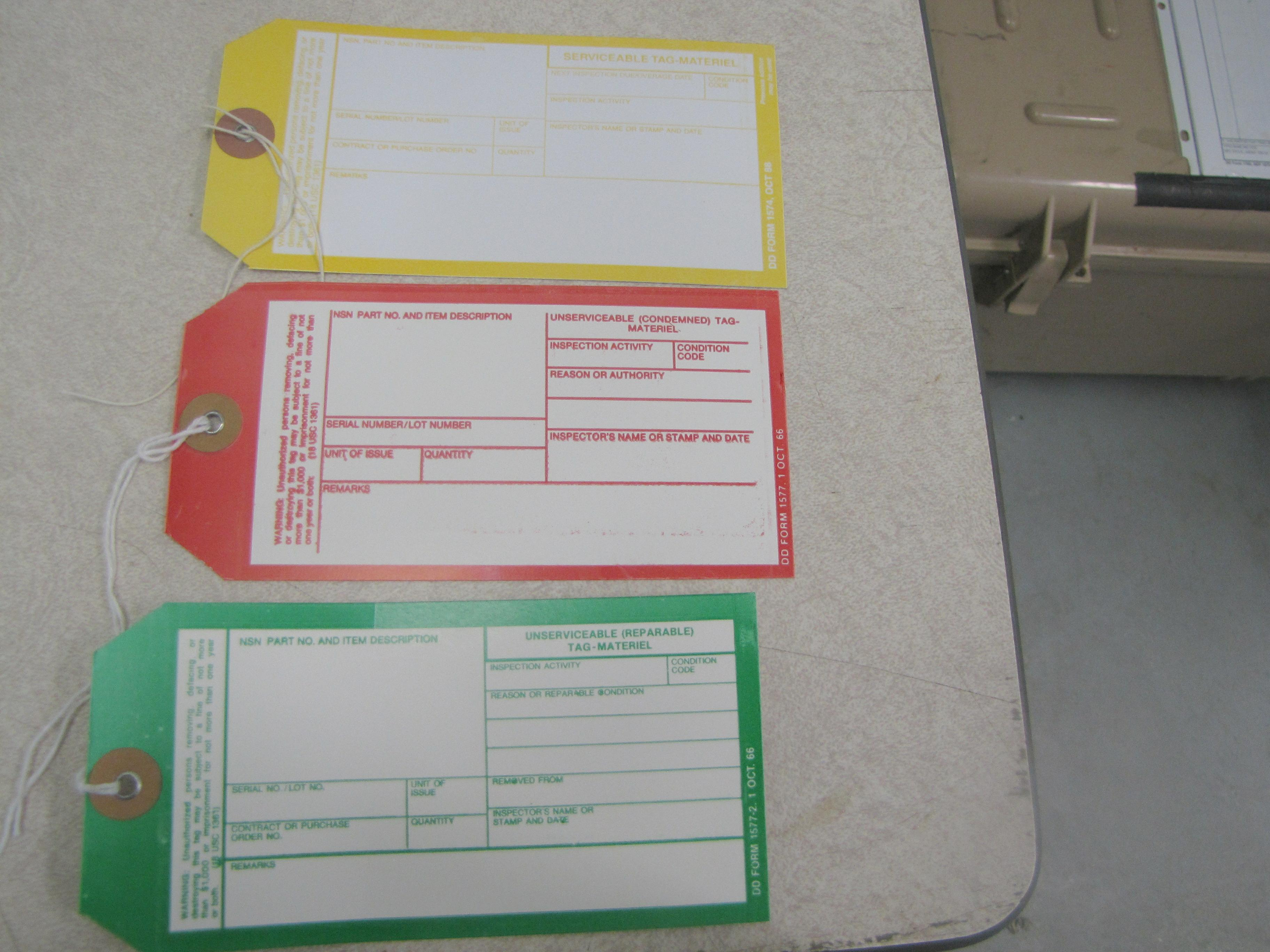 Yellow, red and green condition code tags