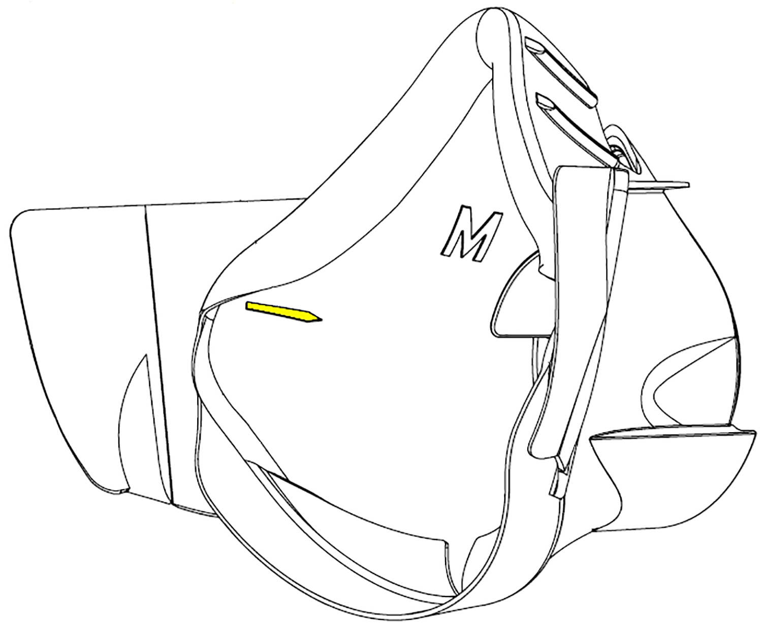 Line drawing showing arrow on the nosecup that helps properly install the internal drink tube
