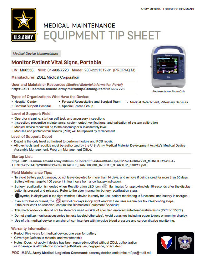 ALMC Portable Patient Vital Signs Monitor Tip Sheet